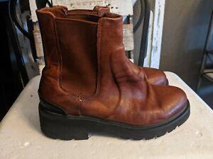 Frye Chelsea Boots Cognac Brown  Side Elastic Pull On Sz 7.5 M  $298