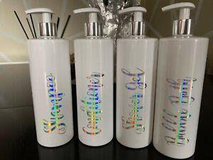 White Personalised Pump Bottles kitchen Bathroom Set Shampoo Mrs Hinch Inspired