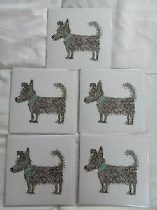 Papyrus Glittered Shaggy Dog Greeting Card Blank Inside 5 count