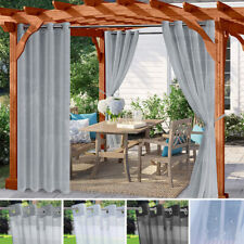 Waterproof Curtains Eyelets Outdoor Garden Pergola Patio Voile Solid Sheer Panel