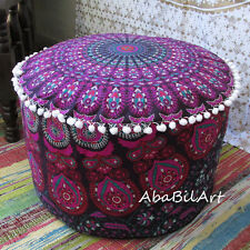 "New 22"" Indian Pouffe Ottoman Screen Printed Mandala Foot Stool Pouf Cover Throw"