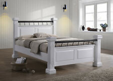 Rolo Chunky 4 Poster Classic British Style 4'6 Double White Wooden Bed