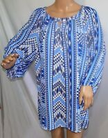 Southern Lady Women Plus Size 1x 2x 3x Chiffon Blue White Top Blouse Shirt Tunic