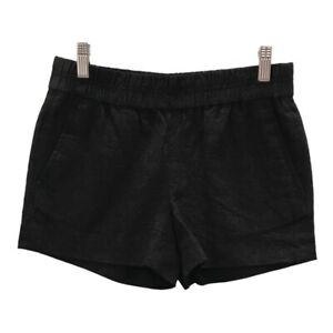 J Crew Womens Shorts Black Cotton Side Pockets Adjustable Elastic Waist 00 New