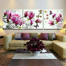 3 Panel Framed Pink Flower Picture Canvas Print Wall Art Home Decor Painting US