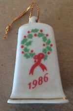 1986 Christmas Porcelain Bell Ornament/Lillian Vernon/4 Decorated Sides/2� Tall