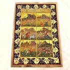 Antique Middle Eastern Artwork Painting On Islamic Arabic Book Leaf Rare Art - B