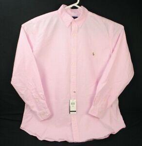Polo Ralph Lauren Pony Button Down Long Sleeves Classic Pink Shirt XLT $110