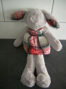 Next grey bunny rabbit tartan dress soft toy