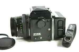 Bronica ETRS Camera. Zenzanon EII 1:2.8 F=75mm Lens Waist Level Finder 120 Back