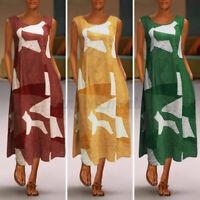 UK Women Elegant Summer Dress Long Maxi O-Neck Beach Printed Striped Dresses