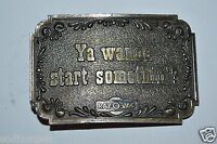 "WOW Vintage ""Ya Wanna Start Something"" Ra-O-Vac Solid LEWIS Belt Buckle RARE"