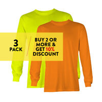 3 PACK AAA 1307 ALSTYLE MENS PLAIN LONG SLEEVE T SHIRT CASUAL BASIC COTTON TEE