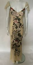 EAVIS & BROWN Vintage Cream Silk Chiffon Floral Embroidered Maxi Dress Gown UK8