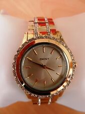 DKNY Ladies Goldtone Watch with Pave Crystals MSRP $175