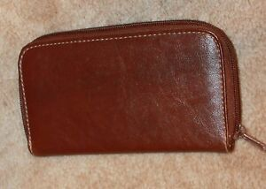 ZIP-AROUND WALLET (brown faux leather; coin & bill pockets; credit cards) NWOT