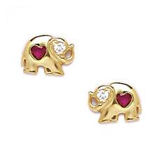 Women/Childrens 14K YG Red Ruby July Birthstone Elephant Stud Earrings ScrewBack