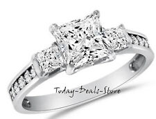 2.6CT Princess Cut Engagement Wedding Ring Three-Stone Real Solid 14K White Gold