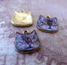 Pack of 5 Brown Cat Charms Animal Pendant Kitten charms Enamelled charm