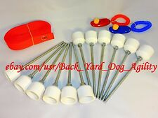 """12 Weave Pole pegs, 24"""" Spacer & 2 Obedience Training Clickers Dog Agility Equip"""