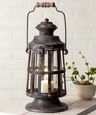Primitive new black distressed CURTIS ISLAND tin candle lantern w/glass chimney
