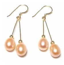 Genuine AAA Pink Pearl 14K Gold Filled Double Dangle Hook Earrings