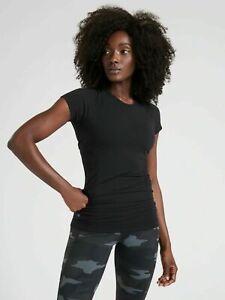 ATHLETA Speedlight Tee M MEDIUM Black YOGA Workout #150990