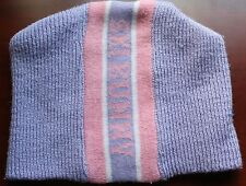 """VERY CUTE LAVENDER & PINK """"SKI BUNNY"""" ACRYLIC KNIT HAT, SIZE 2-4 CHILD'S, GUC!!"""
