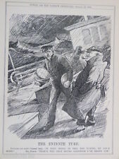 """7x10"""" punch cartoon 1913 THE ENTENTE TUBE channel tunnel"""