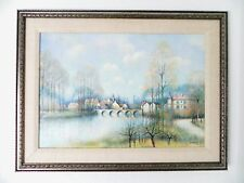 1950s French Jean L.Vergne Oil Painting Landscape w/ Bridge Signed Well Listed