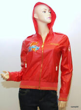 Nwt Ed Hardy Mermaid Nylon Crystals Jacket Windbreaker Hoodie Top ~Orange *XS