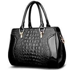 Women's Crocodile Grain Leather Handbags Designer Purse Tote Shoulder Bags