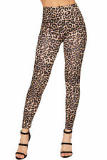 LADIES STRETCH BODYCON MIDI DRESS LONG SLEEVE ANIMAL LEOPARD PRINT BROWN 8 - 18