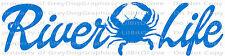 River Life Crab Vinyl Decal Fishing Sticker Fish Car Crabbing Crabs Auto Boat