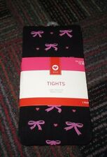 NEW GIRLS TARGET STYLE BLACK W/ PINK BOWS & HEARTS TIGHTS SIZE: M/L 12-14, NWT