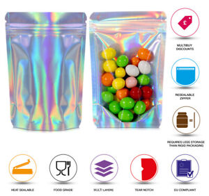 HOLOGRAM ONE SIDE CLEAR HEAT SEALABLE STAND UP POUCHE FOOD GRADE SMELL PROOF BAG