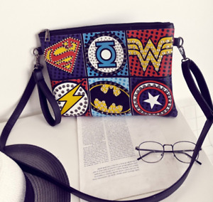 Retro Envelope Clutch Superhero Lady Rivet Punk Handbag Messenger