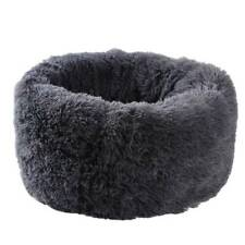 Warm Bed Nest Dog Puppy Gray House Soft Plush Round Comfortable Kennel Pet FA