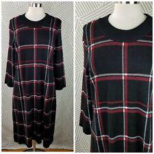 Liz Claiborne Plaid Sweater Dress size XL stretch windowpane Career midi