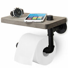 Wall-Mounted Pipe Design Toilet Paper Holder with Barnwood Gray Wood Shelf