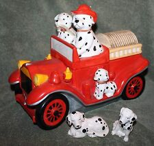 "NICE FIRE TRUCK WITH DALMATIANS COOKIE JAR 10"" WITH SALT & PEPPER SHAKERS"