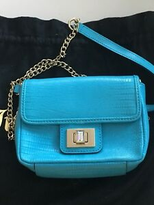 juicy couture baby blue leather cross body bag