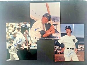 (3) NY Yankees Autographed photos:SPARKY LYLE,MATTYALOU,and MIKE PAGLIARULO