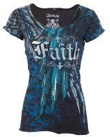 ARCHAIC by AFFLICTION Womens T-Shirt ACTIVE FAITH Wings BLACK BLUE Sinful $40