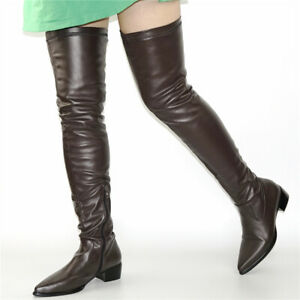 US 8/EUR39 Boots Women Pointed Toe Stretchy Thigh High Boots Over Knee Party