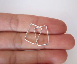 Rectangle sterling silver, yellow or rose gold filled sleepers hoops earrings