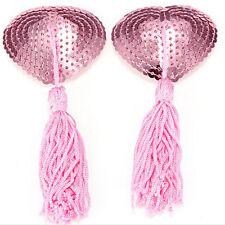 New Adhesive Lingerie Sequin Tassel Heart Bra Nipple Cover Breast Pasties Cu<d