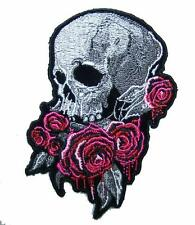 SKULL HEAD BLEEDING ROSES  PATCH P8310 NEW jacket BIKER EMBROIDERED iron on ROSE