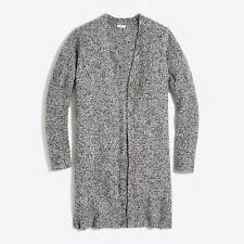 J.Crew Factory Car-Coat Sweater Cardigan Long Cozy Marled Gray Womens L