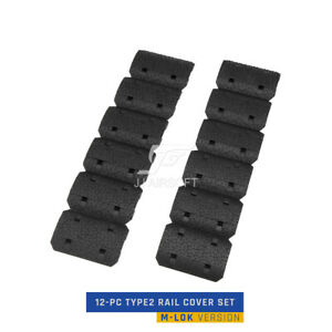 Tactical 12-PC 12pcs Type2 MLOK M-LOK  Handguard Hand stop Rail Cover Set